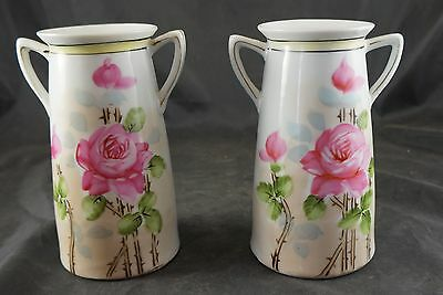 Pair of NIPPON Hand Painted Matching Vases