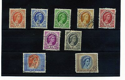Rhodesia & Nyasaland.9 --Ear;y Qe2 Fine Used Stamps On Stockcard