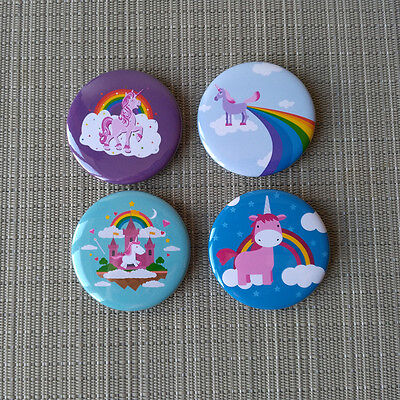 4 Stück Einhorn / Unicorn  Button / Pins / Badge / 2.25 Inch / 56 mm / Top / Rar
