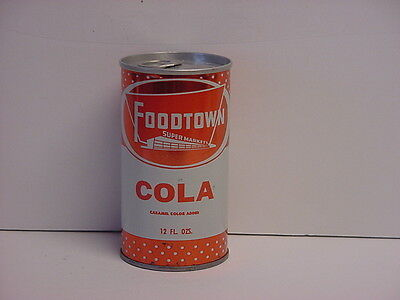Vintage Foodtown Cola Straight Steel Pull Tab Bottom Opened Soda Can
