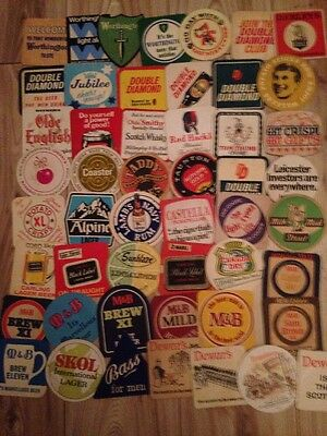 Selection of 50 1960s Onwards Vintage Beermats/Beer Mats