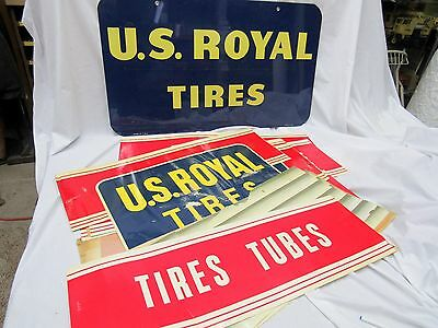 U S Royal Tires-Enamal Sign Set-1955-Paper Signs-Uniroyal-New Old Stock In Box--