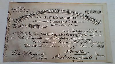 NATIONAL STEAMSHIP Co Ltd £10 share certificate 1874 Liverpool