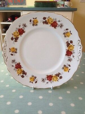 Vintage Colclough Yellow And Red Roses Cake Plate. Great Condition.