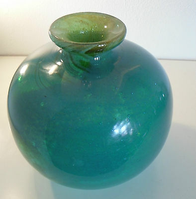Superb Early Bubbly Green-Blue Globe Vase, Michael Harris, Mdina, 1969-1972