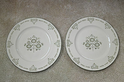 Franciscan Heritage Two Plates  withTiny Edge Chips Green and Creamy Color