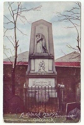 Highland Mary Monument Greenock 28 Jul 1906 Old Postcard Postally Used Lewis