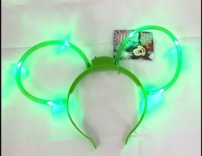 Disney Parks Mickey Mouse Light-up Flashing Glow Ears New with Tags GREEN