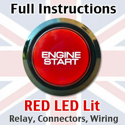Black/Red Engine Start Starter Push Button Power Switch - Full kit with loom!
