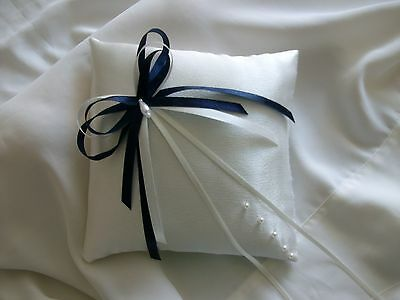 Ivory & Navy Blue Satin Wedding Ring Cushion Hand Crafted