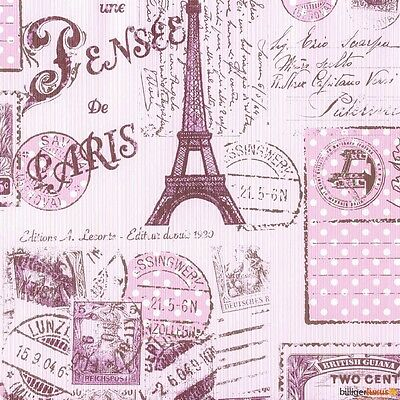 Eiffel Tower Paris Pink Postcard #2  Coasters Set Of 4 Fabric Top / Rubber