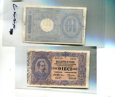 Italy 10 Lire Currency Note Cu 7395H