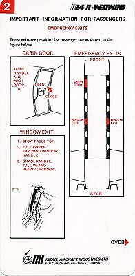 Aircraft Safety Card Westwind