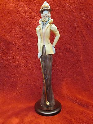 Tall Slender Porcelain Lady Rabbit Figurine With Golf Club Fully Dressed