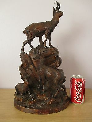 """Antique Large 17.5"""" Black Forest Chamois Sculpture Wood Carving Swiss Carved"""