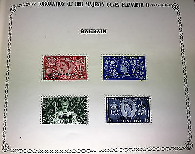 4 Used Lightly Hinged BAHRAIN Queen Elizabeth II Coronation Stamps 1953 SG90-93