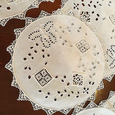 11 Vintage Round Linen Cocktail Napkins With Embroidered Butterflies