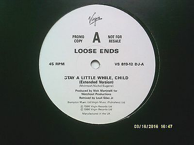 "Loose Ends Stay A Little While, Child 12"" Promo Single 1986 N/mint"