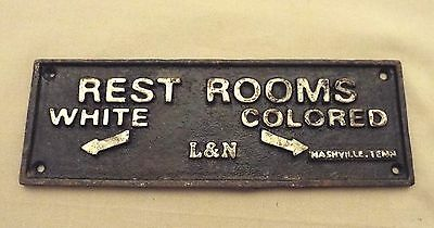 L&n Railroad Black Americana White Rest Rooms Colored Rest Rooms Cast Iron Sign