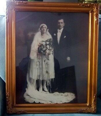 AMAZING Antique Gold Gesso Large Picture Frame + B/W Wedding Picture WOW!!!