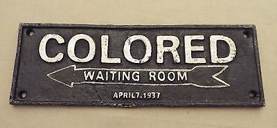 Black Americana Colored Waiting Room Cast Iron Sign