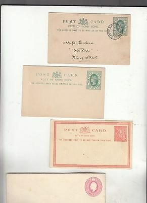 oldhal-Cape of Good Hope-Lot of 4 Cards-Victoria Era-one Used 3 New