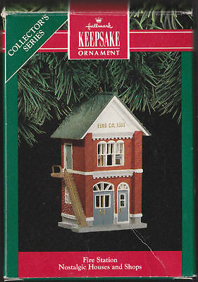 1991 Hallmark Nostalgic Houses Fire Station Ornament