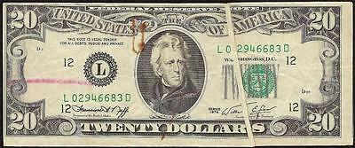 1974 $20 Dollar Bill Gutter Fold Error Note Currency Bep Red Crayon Reject Mark