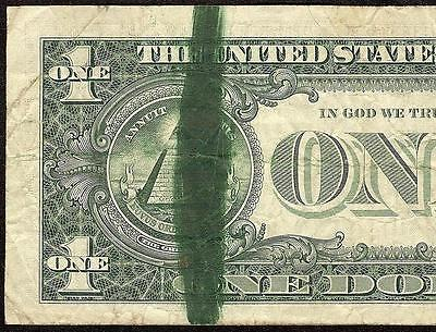 1977 $1 Dollar Bill Green Ink Smear Error Federal Reserve Note Currency Money