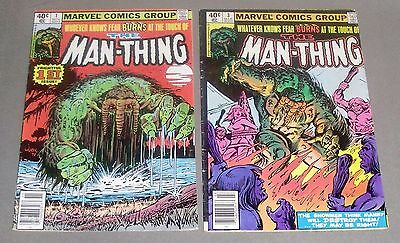 Man-Thing #1 (Nov 1979, Marvel) with #3, lot of 2 comic books, fvf