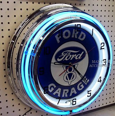 "18"" FORD V8 GARAGE Sign Double Neon Clock Blue Oval"
