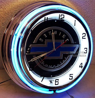 "18"" Genuine Chevrolet Bowtie Sign Double Neon Clock Chevy"
