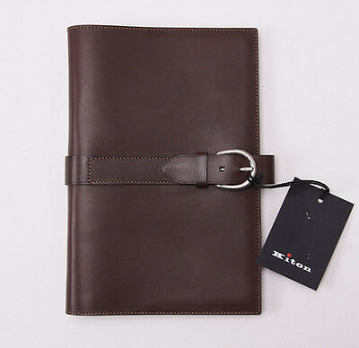 NWT $950 KITON NAPOLI Chocolate Brown Leather Day Planner/Organizer Cover