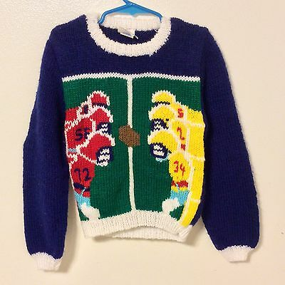 Vintage 1980's Boys East Bay Club Football Sweater, Size XS (5/6)