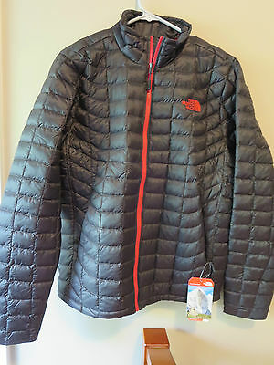Mens New North Face Thermoball Jacket Size Small Color Asphalt Grey - TNF Red
