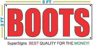 Giant BOOTS Banner Sign NEW Larger Size 2x5 Red & White