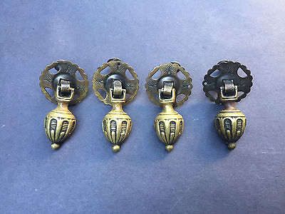 Antique Victorian Brass Tear Drop Drawer Pulls Restoration Hardware Salvage