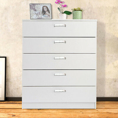 Wide Chest of 5 drawers Bedside draws Home DIY furniture Hallway storage White
