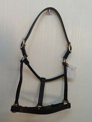 NEW Brown Leather Horse Halter Triple Stitched Fully Adjustable Throat Snap OS