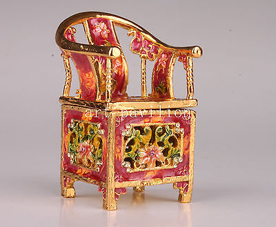 Metal Noble Aristocratic Chair Statue Jewelry Box Collectable Old Decoration