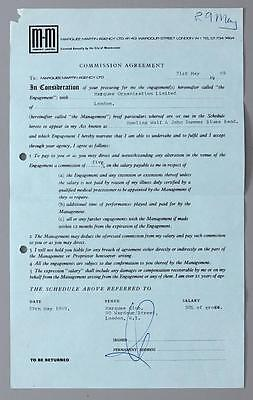 HOWLIN' WOLF - rare original Marquee Club, London May 1969 gig contract