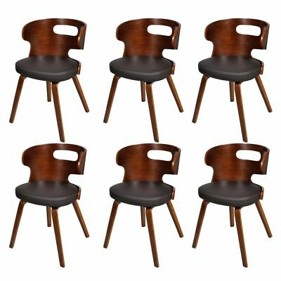 2/4/6pcs Leather Upholstery Dining Chairs Unique Wood Leg Kitchen Cafe Fuiniture