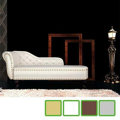 Daybed Sofa Chesterfield Tufted Antique Home Living Room Brown/White/Silver