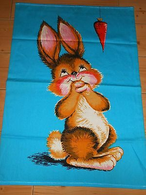 Vtg PANEL TIME BY WESCO RELTEX Adorable BUNNY WALL FABRIC PANEL Tea Towel NOS