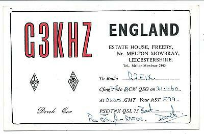 LEICESTERSHIRE - FREEBY, MELTON MOWBRAY  1960 QSL Radio Confirmation Card  G3KHZ