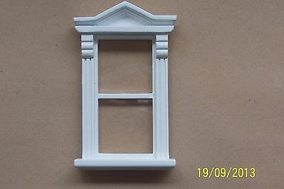 Victorian Dolls House Windows -Pack Of 6 -Wooden -Painted White-1/12-Glazed.