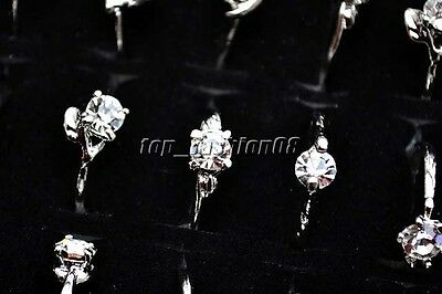 Wholesale 50Pcs Jewellery Mixed Silver Plated Party shining Crystal Rings FREE