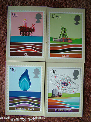 PHQ Stamp card set FDI (Back) No 27 Energy 1978. 4 card set.  Mint Condition.