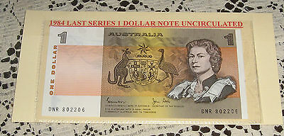 Australian 1 Dollar Note 1984 Uncirculated in Plastic Display Card Attractive