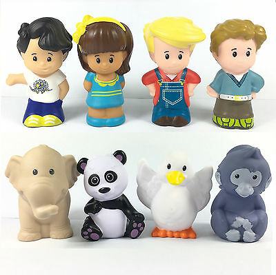 8x Fisher Price Little People Mia Koby Eddie Figures with Zoo animals Toys Doll
